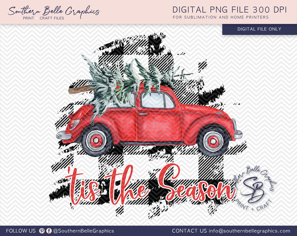 Vintage Red Volkswagen Bug Tis the Season, Watercolor Christmas Tree VW Bug PNG File
