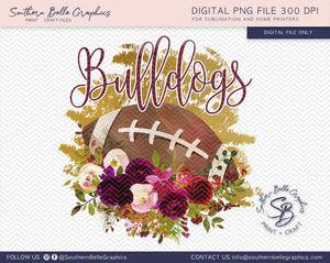 Bulldogs Football, Floral Watercolor PNG File