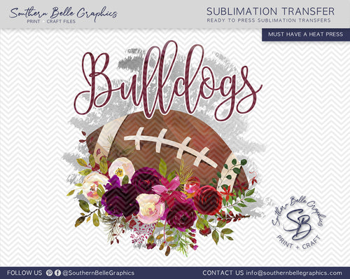 Bulldogs Football, Floral Watercolor Sublimation Transfer