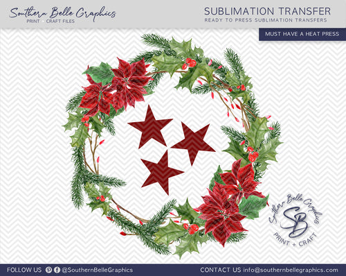 Christmas Tennessee Tristar Holly Wreath Sublimation Transfer