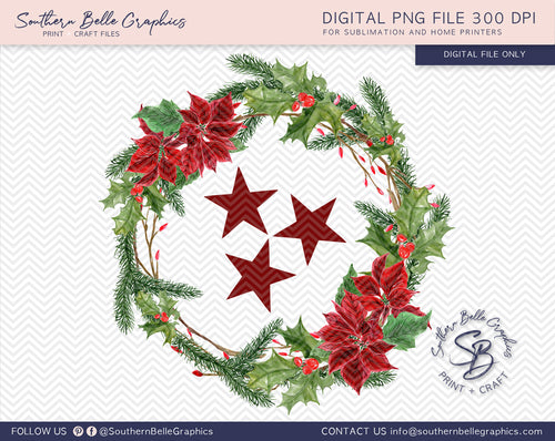 Christmas TN Tristar Holly Wreath PNG File