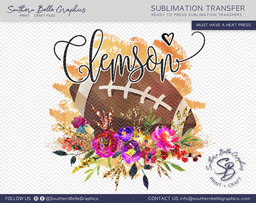 Clemson Football Watercolor Sublimation Transfer