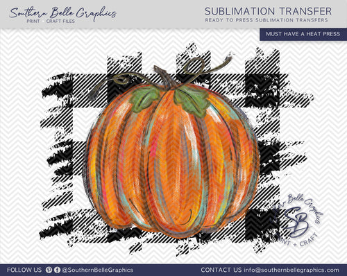 Colorful Pumpkin on Buffalo Plaid Sublimation Transfer