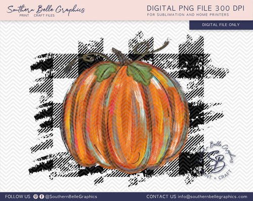 Colorful Pumpkin on Buffalo Plaid PNG File