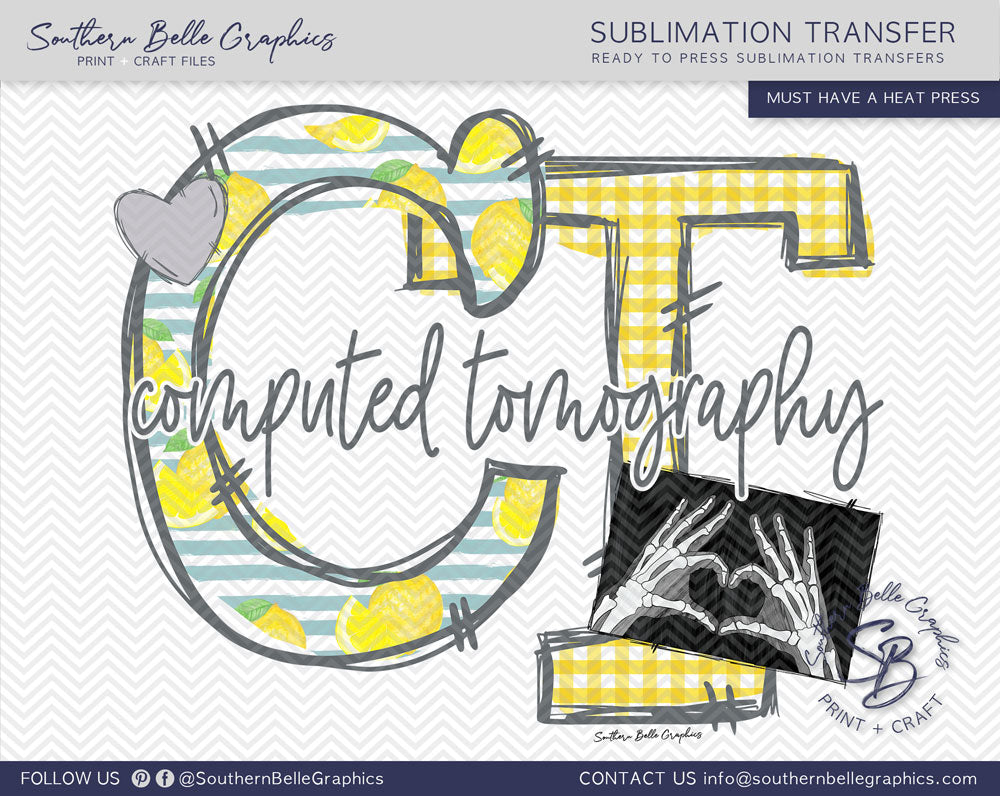 Computed Tomography - CT Hand Drawn Sublimation Transfer