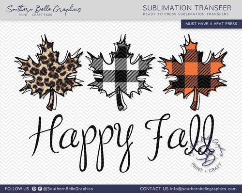 Happy Fall Leaves Hand Drawn Sublimation Transfer