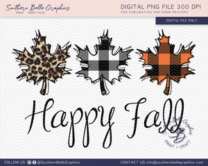 Happy Fall Leaves Hand Drawn PNG File