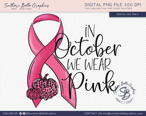In October We Wear Pink Pumpkins, Awareness Ribbon PNG File