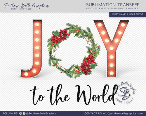 Joy to the World Marquee Letters and Wreath Sublimation Transfer