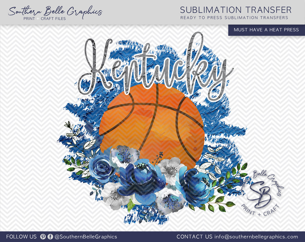 Kentucky Basketball, Floral Watercolor Sublimation Transfer