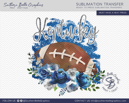 Kentucky Football, Floral Watercolor Sublimation Transfer