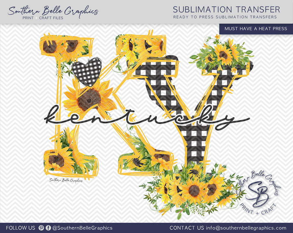 Kentucky Sunflower, KY Doodle Letters Sublimation Transfer