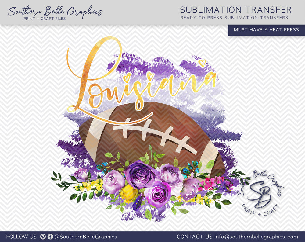 Louisiana Football, Floral Watercolor Sublimation Transfer