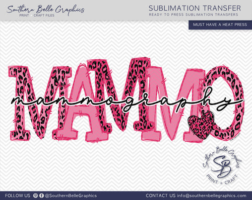 Mammography Doodle Letters, Awareness Ribbon Sublimation Transfer