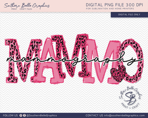 Mammography Doodle Letters, Awareness Ribbon PNG File