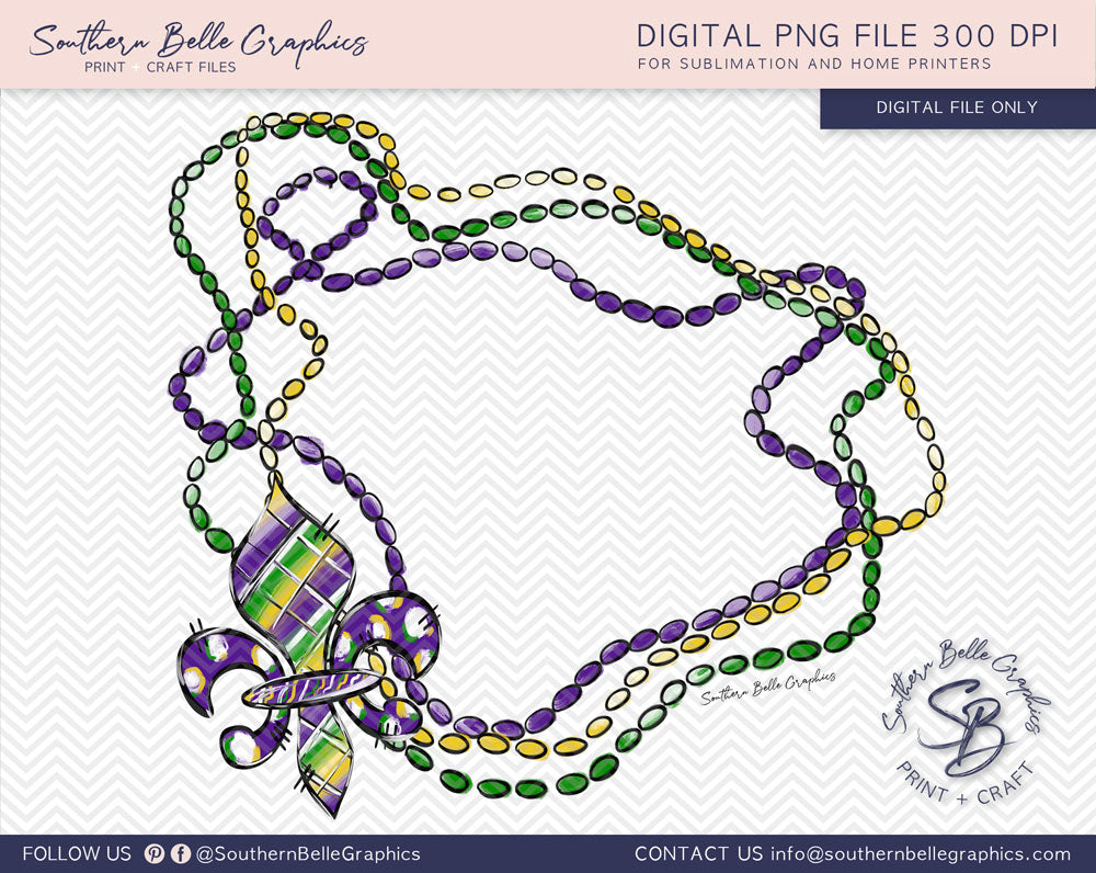 Mardi Gra Beads and Fleur De Lis Frame PNG File