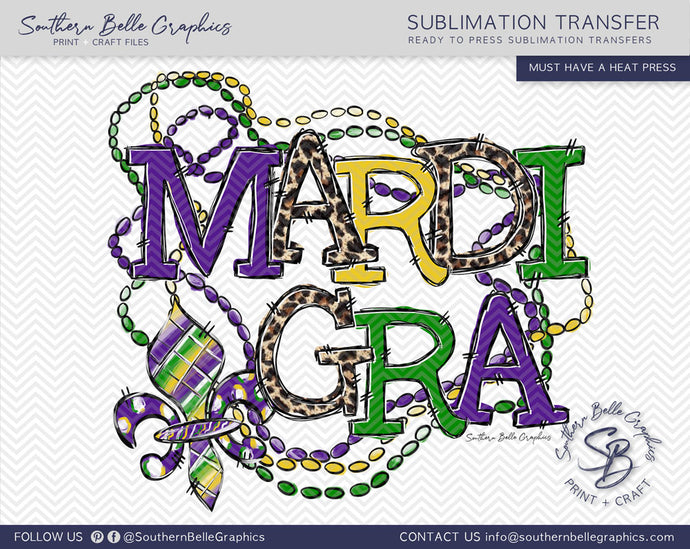 Mardi Gra Beads and Fleur De Lis Sublimation Transfer