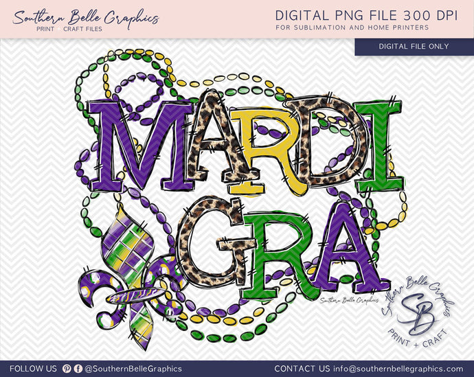 Mardi Gra Beads and Fleur De Lis PNG File