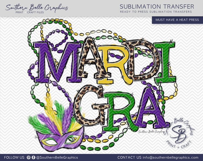 Mardi Gra Beads and Mask Sublimation Transfer