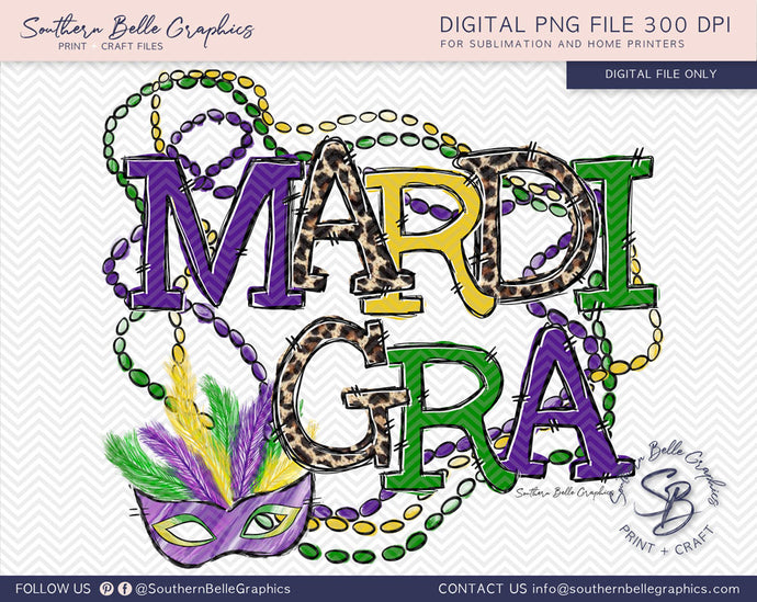 Mardi Gra Beads and Mask PNG File