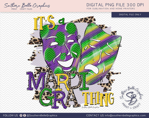 It's a Mardi Gra Thing, Happy and Sad Face Masks PNG File
