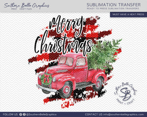 Merry Christmas Vintage Red Truck - Watercolor Christmas Truck Sublimation Transfer