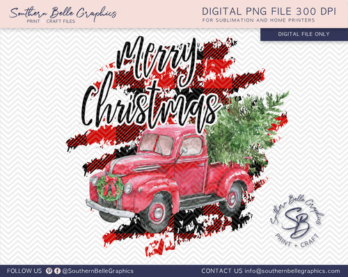 Merry Christmas Vintage Red Truck - Watercolor Christmas Truck PNG File