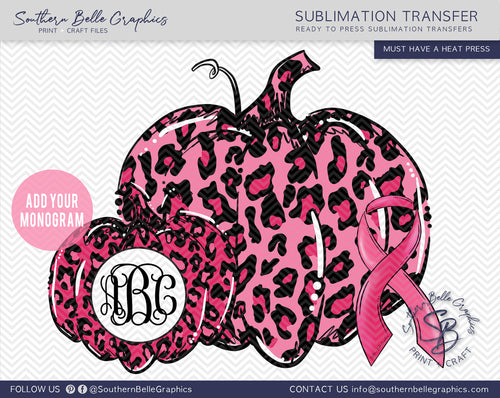 Pink Leopard Monogram Pumpkin, Awareness Ribbon Sublimation Transfer