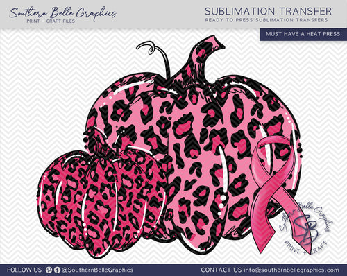 Pink Leopard Pumpkins, Awareness Ribbon Sublimation Transfer