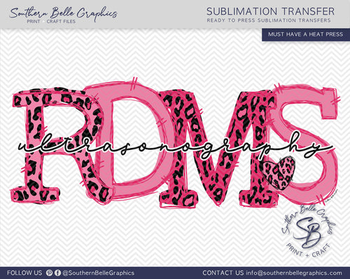 RDMS Ultrasound Sonography Doodle Letters Sublimation Transfer