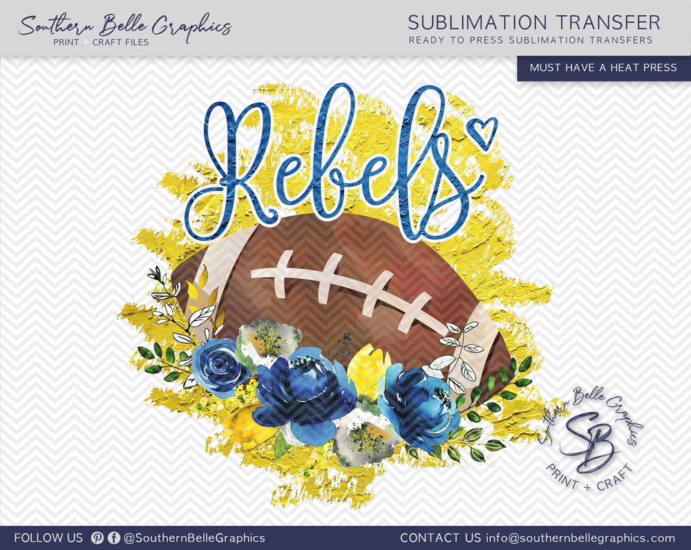 Rebels Football, Floral Watercolor Sublimation Transfer