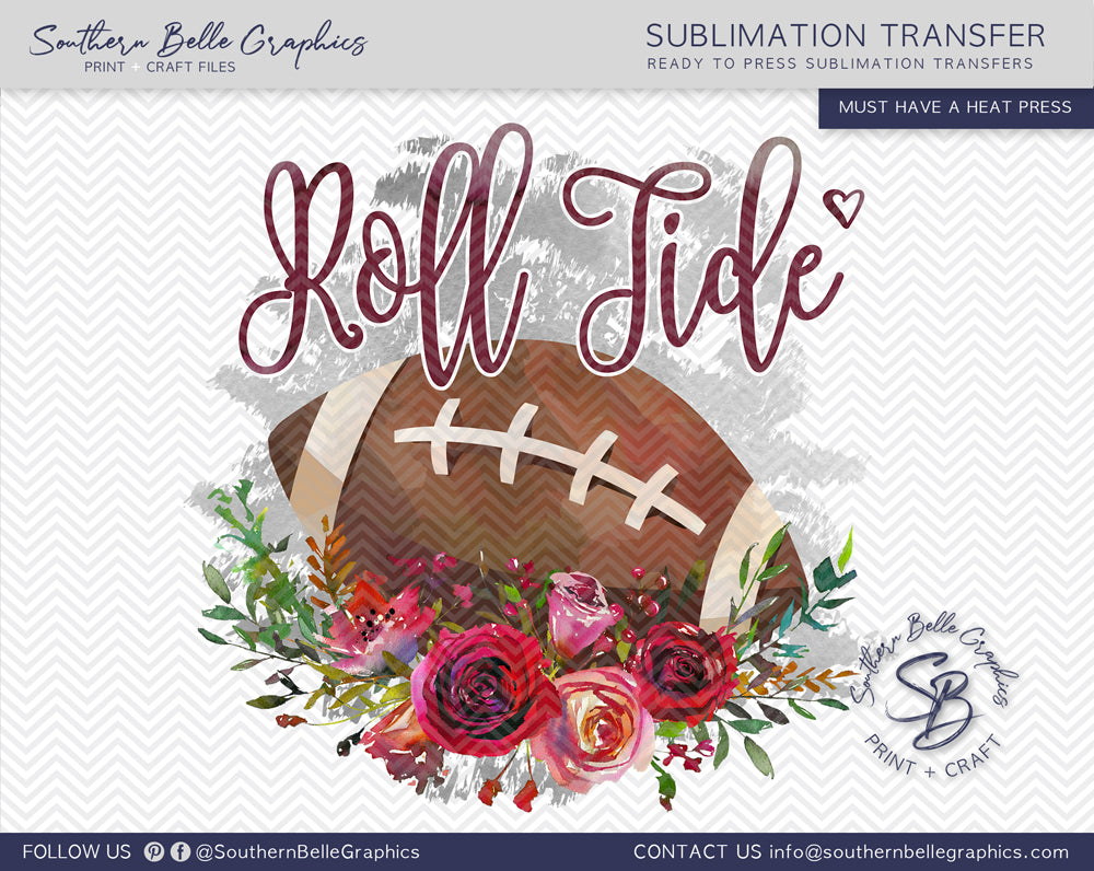 Alabama Roll Tide Football Watercolor Sublimation Transfer