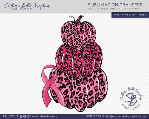 Stacked Pink Leopard Pumpkins, Awareness Ribbon Sublimation Transfer