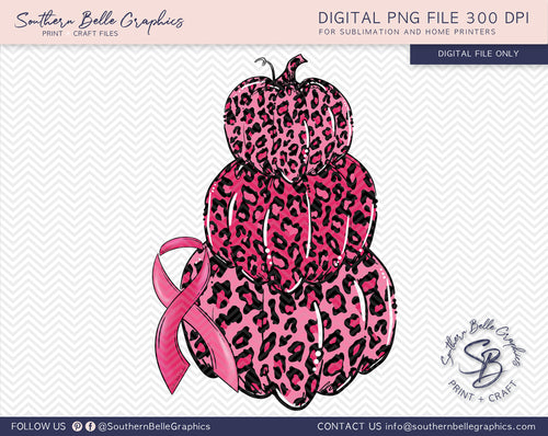 Stacked Pink Leopard Pumpkins, Awareness Ribbon PNG File