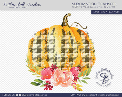 Watercolor Plaid Floral Pumpkins Sublimation Transfer