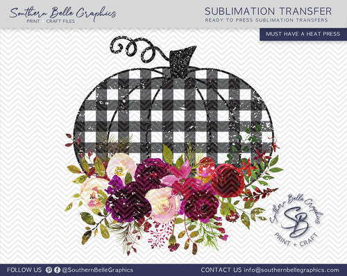 Buffalo Plaid Floral Pumpkin Distressed Sublimation Transfer