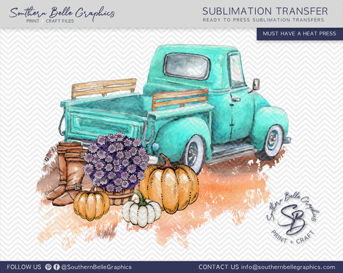 Vintage Turquoise Truck with Pumpkins, Watercolor Pumpkins Sublimation Transfer