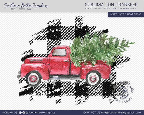 Vintage Red Truck - Watercolor Christmas Truck Sublimation Transfer