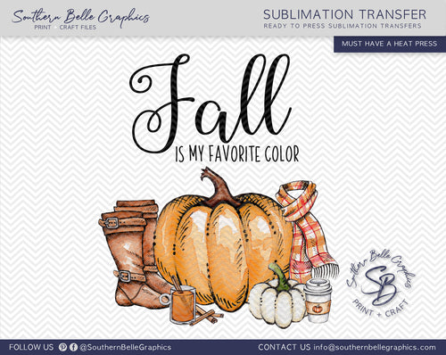 Fall is My Favorite Color, Watercolor Pumpkins Sublimation Transfer