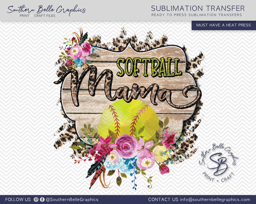 Softball Mama, Floral Sublimation Transfer