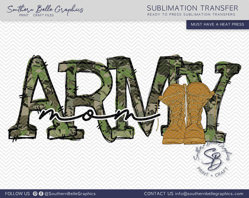 Army Mom Hand Drawn Sublimation Transfer
