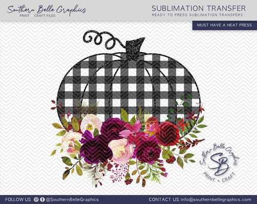 Buffalo Plaid Floral Pumpkin Sublimation Transfer