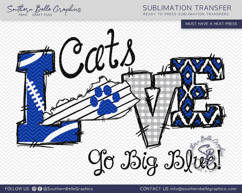 Love Kentucky Cats Hand Drawn Sublimation Transfer