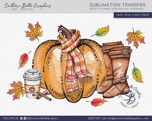 Watercolor Fall Pumpkins Sublimation Transfer
