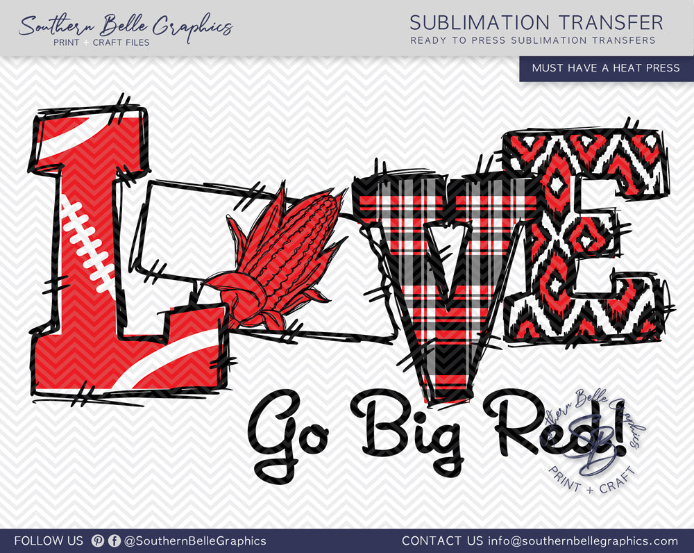 Love Nebraska Football, Hand Drawn Sublimation Transfer