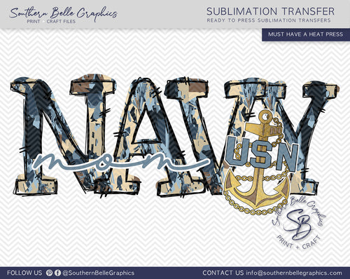 Navy Mom Hand Drawn Sublimation Transfer