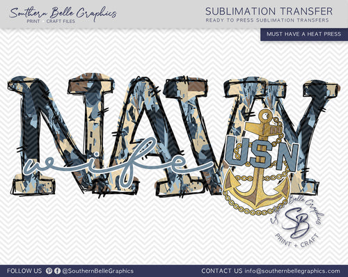 Navy Wife Hand Drawn Sublimation Transfer