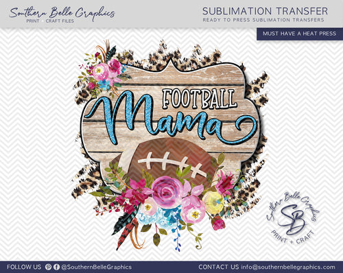 Football Mama, Football Mom Floral Watercolor Sublimation Transfer