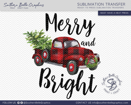 Merry and Bright - Vintage Red Truck - Watercolor Christmas Truck Sublimation Transfer