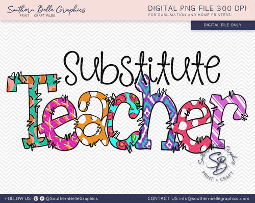 Substitute Teacher Doodle Hand Drawn PNG File
